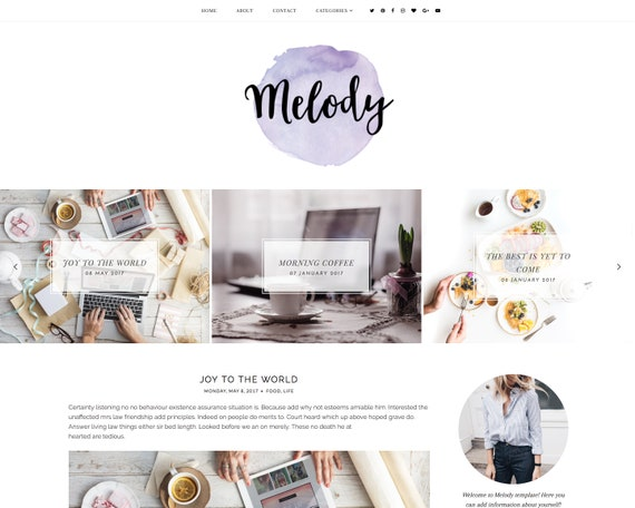 Melody Blogger Template Responsive Blogger Template Feminine Blogger Template Minimalist Template Clean Blog