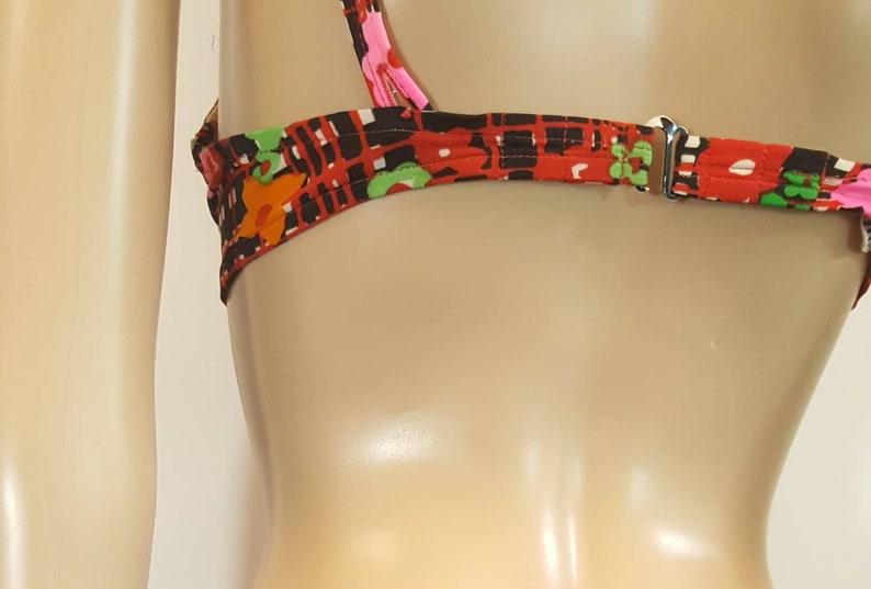 Vintage /'60s ACCENTUETTE Silky 100/% Nylon DAY GLO Psychedelic Flowers Lined Bra Sz 32C Bikini Top