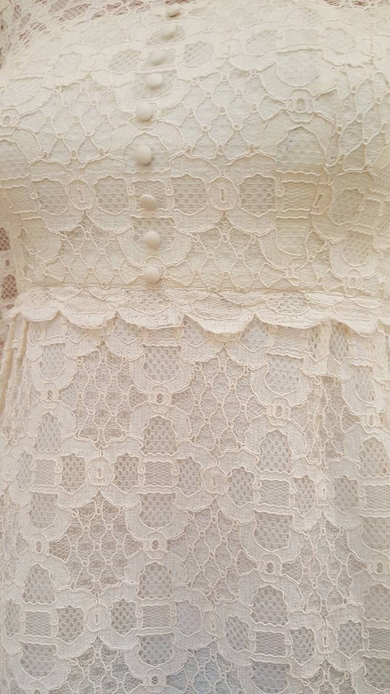 Gorgeous Vintage '60s Off White Floral Lace Lined… - image 8