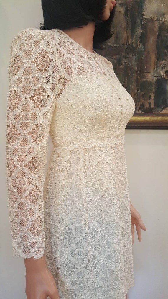 Gorgeous Vintage '60s Off White Floral Lace Lined… - image 5