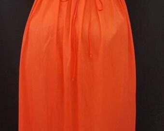 Vintage 60s Reddish Orange VANITY FAIR Set Silky Nylon Tricot with Lace Nightie Nightgown Robe Gown Sz. 34