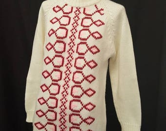 Vintage 60s AGASHI MOD Graphic Acrylic Mock Turtle Neck Sweater Neck Zip