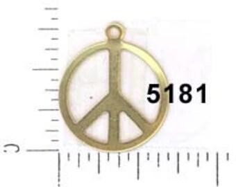 1 Large  Peace Sign Bronze Tone Charm BC2103