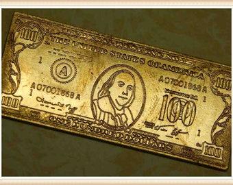 1 Piece Raw Brass Money Vintage Miniature Stampings Embellishments 2574