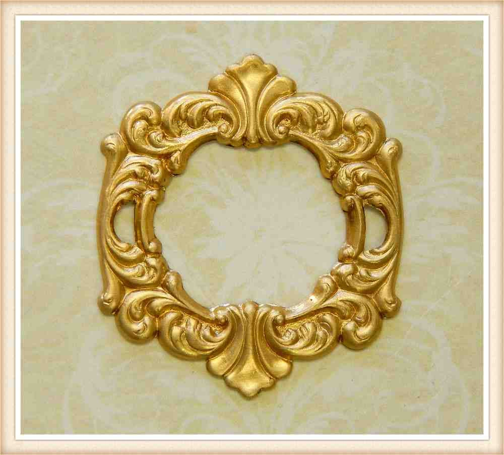 1 piece raw round brass frame buckle art deco miniature ornate   Etsy