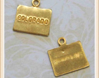 Colorado 12 pcs raw brass state charm CO