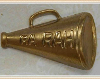 SALE 12 pcs raw brass megaphone cheerleader charm embellishment ornament  #4300