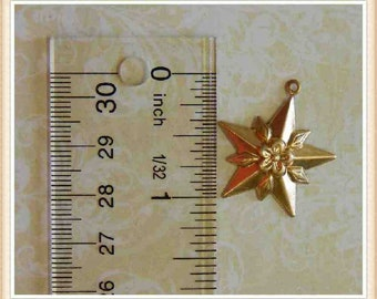 6 pcs raw brass star  with flower starburst celestial charm stamping finding, embellishment #3237