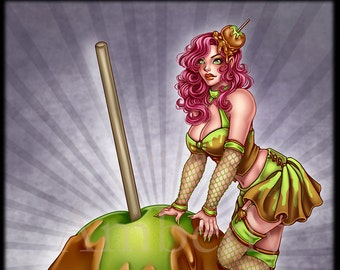 Caramel Apple Witch limited edition art print