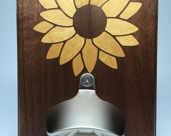 Walnut - Yellowheart Sunflower Inlay Bottle Opener