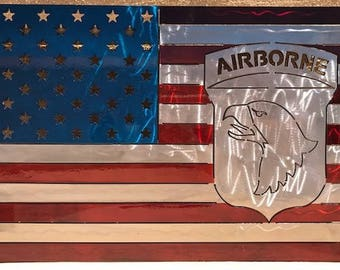 American Flag Metal sign with Screaming Eagle insignia- (101st Airborne)