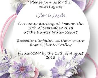 Wedding / Engagement / Party Invites - Purple Flower Wreath Background