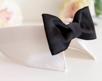 White Wedding – Wedding dog shirt collar with bow tie, dog ring bearer, dog wedding attire, wedding collar leash