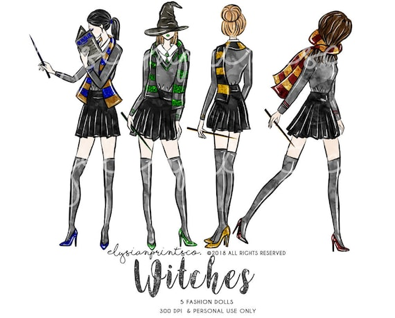 c56a2f6a9 Witches Fashion Doll Illustration Clipart Set | Hand Drawn Glitter Graphics  | Planner Stickers Digital Clipart