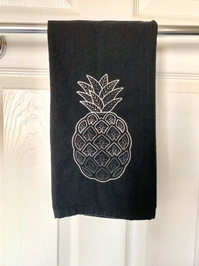 Embroidered Pineapple Kitchen Flat Towel image 0
