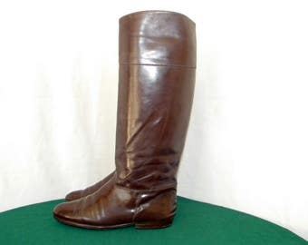 c7ab5fc394 Sz 7 Vintage tall brown Patent leather 1970s Italian made Charles David  Women flat riding boots.