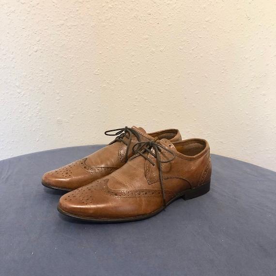 Sz 8 Vintage Multi Color Brown Genuine Leather 1990s Women Flat Lace Up Shoes.