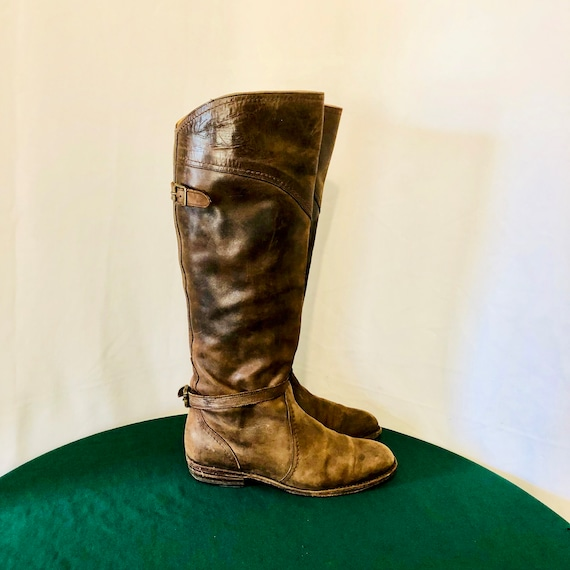 Size 8 Sz 8 Vintage Frye Tall Weathered Brown Genuine Leather 1980s Women Pull On Riding Boots