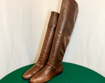 Sz 7.5 M Vintage Tall Brown Genuine Leather 1980s Women Flat Knee High Slouch Boots.