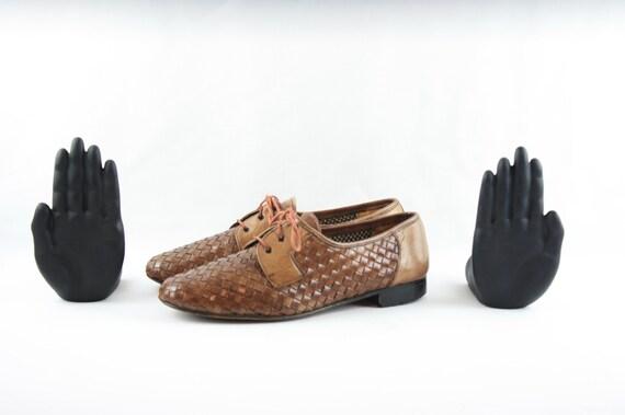 Size 9 Vintage Shoes-Vintage Men Shoes-Flat Lace U