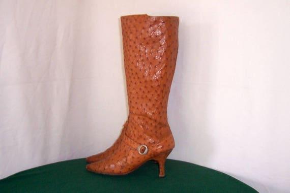 SZ 8 Vintage haut brun véritable véritable véritable peau d'autruche des années 1990 pour femme Zip Up bottes avec sangle et boucle de marche. | Design Attrayant  04c184