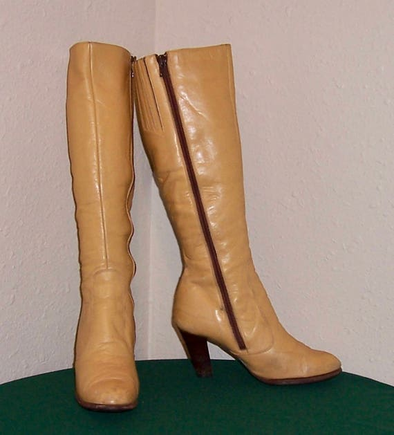 SZ 6.5 Vintage haut espagnol jaune véritable cuir cuir cuir 1980 s femmes genou Zip Lujano bottes. 7b6803