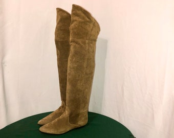 Sz 8.5 M Vintage Tall Brown Genuine Suede/Leather 1980s Women Flat Pull On Thigh High Slouch Boots.