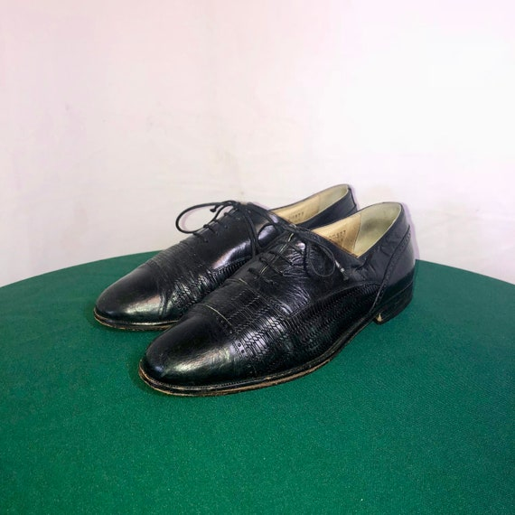 Sz 8.5 EEE Vintage Black Genuine Leather 1980s Men