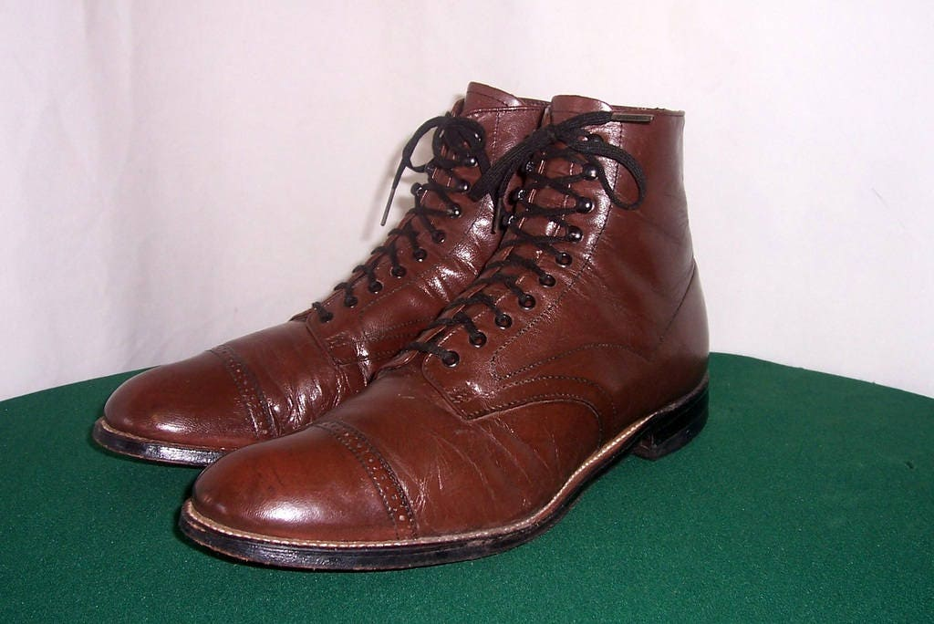 7aadedcd3f064 Sz 8.5 D Vintage Short Brown Genuine Leather 1980s Men Flat Lace Up Stacy  Adams Ankle Boots.