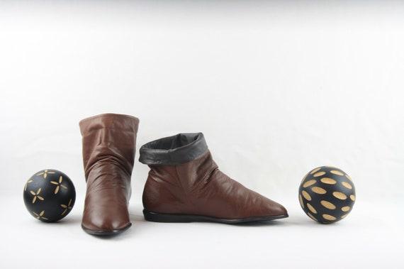 Vintage Ankle Boots. Size 6.5 Short Brown Genuine