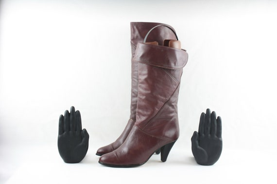 Size 8 Vintage Tall Black Genuine Leather 1980s Women Zip Up Low Heel Slouch Boots. Sz 8
