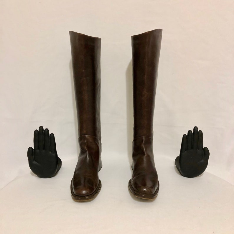 Size 8.5 Tall Brown Genuine Leather 1980s Italian Made Flat Vintage Riding Boots Pull On Riding Boots By Nickels.
