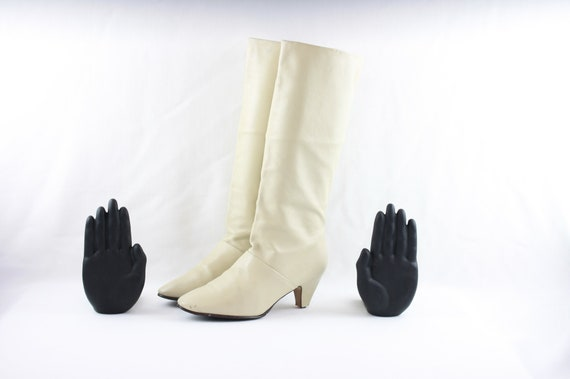 Vintage Boots-Women Vintage Boots-Size 6 Boots-Whi