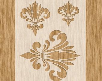 5 x 5 Fleur De Lis Tile Stencil Sku PFDL0110M4