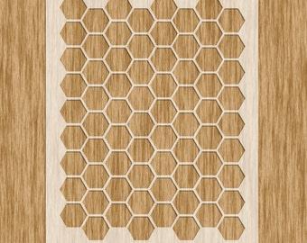 "Honeycomb / Hexagon Large Pattern Stencil (8.5"" x 11"")"