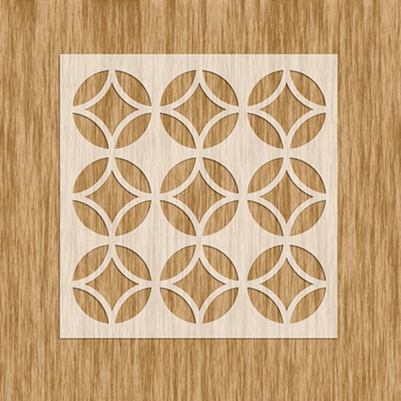 Art Deco Tile Design Pattern Stencil Mini Series Sku PAD0101M 5.5\u201d x 5.5\u201d