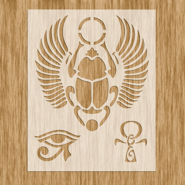 Egyptian Symbols Stencil Scarab Eye Of Ra And Ankh Sku Etsy