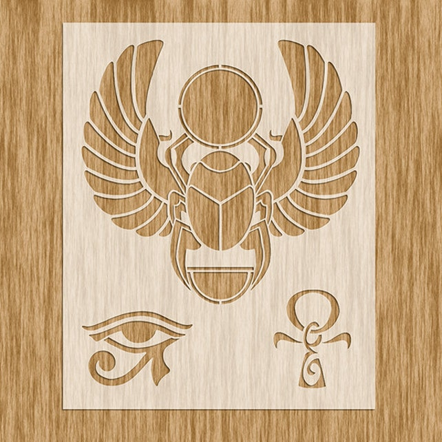 Egyptian Symbols Stencil Scarab Eye Of Ra And Ankh Sku Etsy