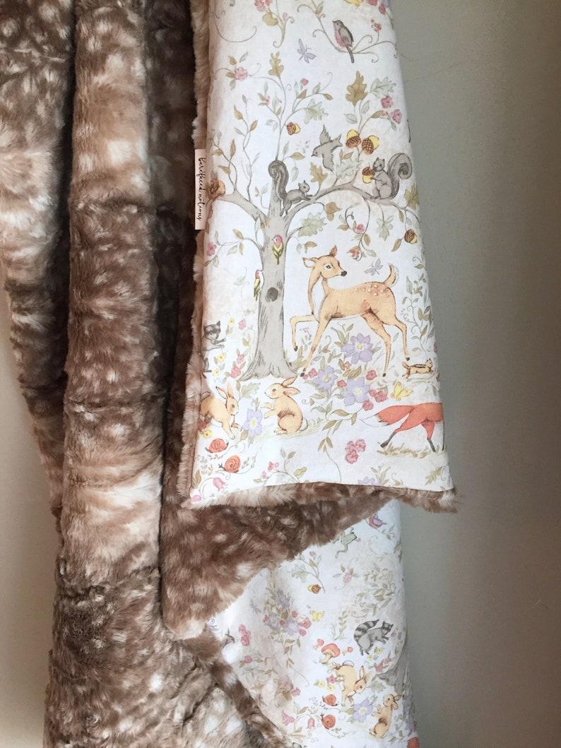 Woodland Blanket Minky Blanket Fawn Blanket Woodland Nursery Blanket Neutral Cotton Fawn Minky Baby Blanket 34x40 Woodland Animals