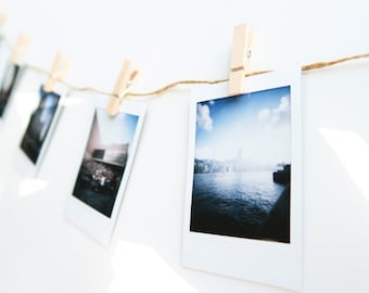 Set of string with 20 wooden clips for DIY and hanging your Polaroid photo, Instax mini film or instax wide film and other photos