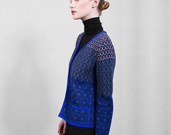 "Knitted jaquard jacket, blue, 7/8 sleeves, merino wool top quality yarn, ""Chanel like"" limited edition, Polish folk pattern, original design"