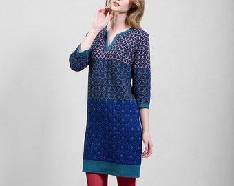 Merino wool knitwear dress, sapphire blue & green, comfortable mid-knee length, unique design, Polish folk pattern, highest quality yarn