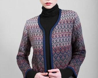 Knitted jaquard jacket, beige, merino wool top quality yarn, Chanel like limited edition, Polish folk pattern, original design, 7/8 sleeves