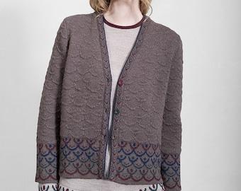 Beige brown jaquard cardigan, top quality merino wool, 7/8 sleeves, limited edition original design, Polish folk pattern, women's clothing