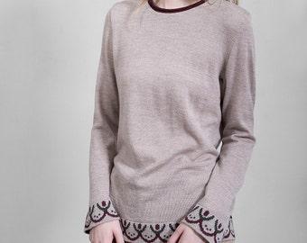 Merino wool beige blouse, soft Italian yarn, comfortable, folk pattern, limited edition, unique design, Polish folk, delicate