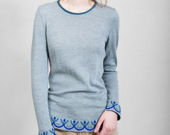 Merino wool blue-grey blouse, comfortable and soft, unique Polish design, limited edition, Polish folk,  folk pattern, women's clothing