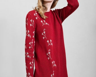 Knitwear ruby red tunic of soft jacquard, highest quality merino wool yarn, comfortable bell-shape, unique design with Polish folk pattern