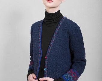 Navy blue jaquard cardigan, top quality merino wool, 7/8 sleeves, limited edition original design, Polish folk pattern, women's clothing