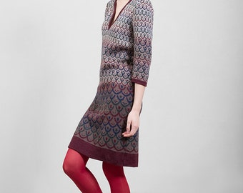 Merino wool knitwear dress, beige - brown & bordaux, comfortable mid-knee lenght, unique design, Polish folk pattern, highest quality yarn,