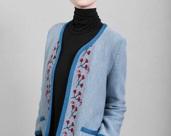 "Merino wool knitwear jacket, grey blue jaquard, red floral motive, ""Chanel like"" style, quality limited edition, Polish folk design pattern"